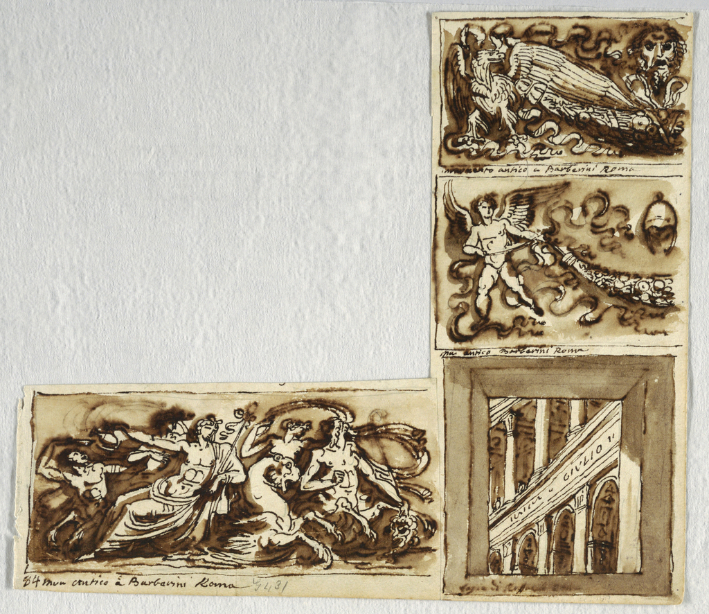 Three friezes from the Barberini Collection: eagle with gharland and masks, putto with gharland, tritone with naiade and Venus; Loggia.