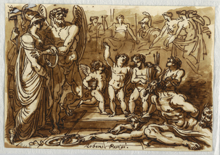 Minerva standing at left with winged male figure; four putti with two captives at center; satyr head at far right, and six sketched figures in distance.