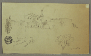 Drawing, Mosque and adjoining Buildings, trees, April 4, 1868