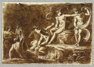 Diana sits on rock at center pointing right, across body of Callisto. Four bathing nymphs at lower left, and two others in background shadows.