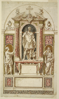 Vertical rectangle. Retable scheme. Below are a base and a dado. A sarcophagus with the tablet for the inscription between its legs stands below in the center of the upper part. Above it is a niche with a broken pediment and flanked by embedded columns. A statue of a man in classical armor with a lance stands in it. In front of the lower lateral panels are statues of women, a nude one with a cloth at left, a mourning one at right. Framed by the outlines of a bay in a church. Project intended to be executed in white and colored marbles.