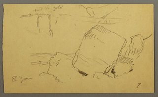 Verso: Boulders Against Cliff and Three Figures