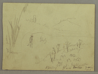 Recto:  Horizontal view of a hill with a buildin with a tower on top shown in the left foreground, and a mountain in the right rear; a man is shown beneath and beside and lines in the center; at wooded hillside at bottom right; and high weeds at left.