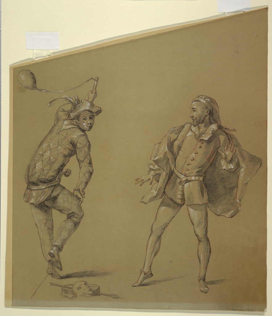 Harlequin and another figure of the Commedia dell'Arte, stand in animated gestures.