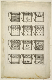 Designs for the decoration of twelve chocolate cups composed of birds and foliate motifs.