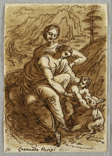 Drawing, Madonna and Child with St. Anna and Lamb, after Leonardo, 1813–18