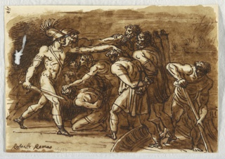 Sketchbook Folio, The Battle of Ostia, After Giulio Romano, 1813–18
