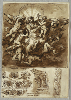 At upper section, Madonna and Child supported by numerous putti, float on clouds. At lower section, three friezes, two with acanthus and one with scrolls; part of capital, and scroll decoration with vase.