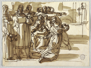 "Drawing, The Prelate and Stool-Bearers and Women near Them in ""Expulsion of Heliodorus"" after Raphael Sanzio, ca. 1820"
