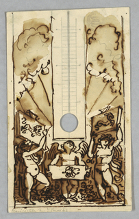 Scale showing circular hole at the place of bulb. Three putti carry tablets, signs of Zodiac, Lion, Cancer, Capricorn, respectively. In background, clouds and rays. Verso: part of arch with same three signs, sketched in graphite.