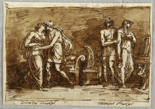 Drawing, The Love of Helen and Paris, 1813–18