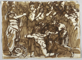 At left, a man in antique Roman dress stands on a platform. Before him kneels a nude figure. Around them a large group of men in Roman outfit.
