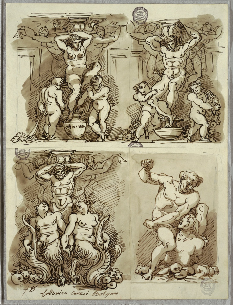 Upper left drawing of seated female herm flanked by 2 putti and 2 female herms, supporting bracket. Upper right drawing of seated male herm flanked by 2 putti with garlands, and 2 female herms, supporting bracket. Lower left drawing of standing male herm flanked by male and female satyr with horns of plenty, and two female herms, supporting bracket. Lower right drawing of male figure seated on and struggling with what seems to be sphinx.