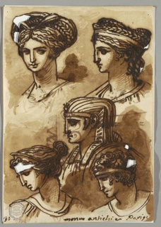 Five heads arranged on page. At upper section two female heads possibly of same sculpture, shown with elaborate coiffeurs. Central head in profile Egyptian. Male and female head at lower section, both in profile to left.