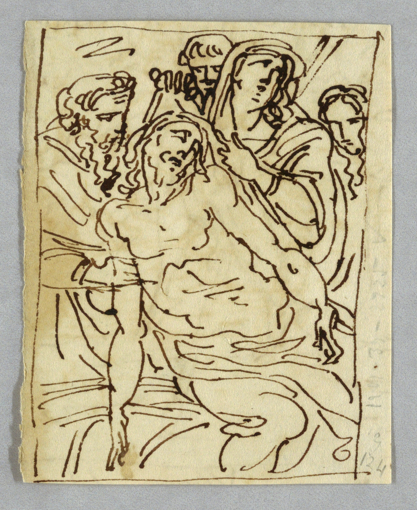Disposition of Christ. Verso: allegory of Time and winged genius.