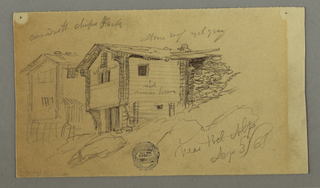 Recto:  Horizontal view of two groups of wooden mountain sheds at top; oblique view of two houses with a shed behind them at left center; a rock in scale at lower center; and a slope drawn vertically at lower right.  Verso:  Oblique horizontal view of two mountain houses.