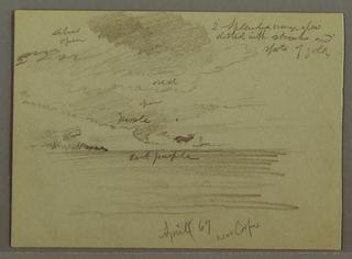 Verso: Sky study and mountainous coastline