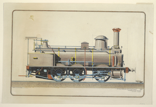 Side elevation of a locomotive facing right.