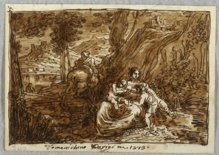 Drawing, The Flight into Egypt, After Domenichino, 1813–18