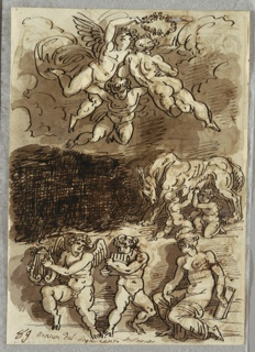 Drawing, Three Putti with Garland; Romulus and Remus Breastfeeding from She-Wolf; Two Putti Playing Cymbals, 1818