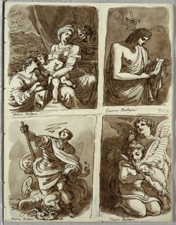 Upper left, Holy Family with Saint Catherine at lower left, draperies and landscape background. Upper right, half figure of St.John. Lower left, St. Michael standing atop beast and looking heavenward. Lower right, kneeling angel holding