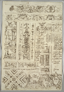 Four studies of friezes and grotesque candelabrum; study of ceiling; papal coat of arms.