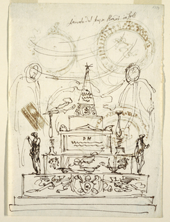 The catafalque with obelisk topped with a star. Flanked by two burning candelabra. Letters PM below a triangular pediment. At base, coat-of-arms. Suggestion of figures at left and right.