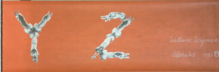 """Children's border with the entire alphabet, from A to Z, is displayed in order with each character composed of one, two or three weimaraner dogs. The dogs are printed in black and white on an orange-red ground. After the """"Z"""", the artists name and wallpaper title are printed in white script, along with the date and the A/D Gallery Logo: """"William Wegman/Alphabet 1993"""". Following, written in graphite, is the print edition """"38/1500""""."""