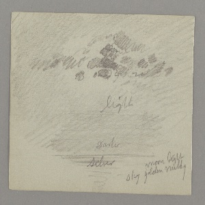 Recto: Distant view of a steamer.; Center, two boats with blocks of cement.; Bottom left, sketch of building.; Verso: Sky with a few clouds over the sea at night