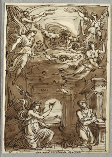 Annunciation: An angel kneels at left pointing at kneeling Virgin at right. Above- God, four angels, and three putti on clouds. Scene set inroom with arched opening to landscape.