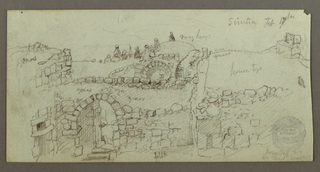 Verso: Study of Frieze, Moulding Notes, Entrance Way