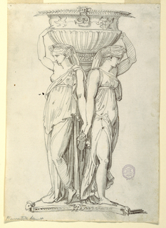 Two women in classical dress support a vessel. Each woman raises one hand, the other clasping that of her neighbor. The vessel if decorated with frieze of lizards below the rim. At bottom, a triangular platform with ram's heads.