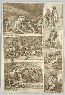 Moses striking rock; inscribed: Benvenuto Garofalo Ferrara. Two battle scenes, inscribed: Polidoro Roma. Venus and cupid, inscribed: Nicolo dell' Abate Bologna. Woman abducting two children, inscribed: Peleg' Tibaldi Bologna. Venus and Cupid with torch, inscribed Giulio Romano Mantua. Virgin and Christ as boy, inscribed: Ludovico Caracci Bologna. Left bottom corner inscribed: 81. Left top corner inscribed: 144. Verso: skeleton of griffon, shown in profile. Bottom: head of horse in three-quarter profile; parts marked at right from 1-4 and 1-5. Left bottom corner inscribed: Forli/ 15 Aprile 1814.