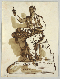 Woman seated upon rock, raises her right hand with device. Coiling snake sits in her lap while her left hand holds its head.