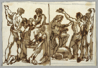 The judgement has graphite border lines on top and at right. The Marsyas on all sides. Diving ink line between representations.