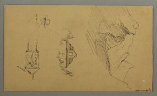 Verso: Mountain Peaks, Building, Man's Head, Wayside Shrine