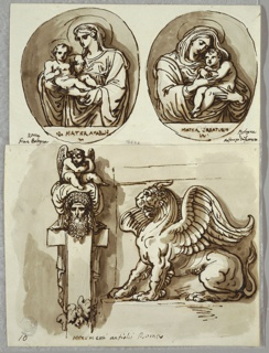 Above, two oval compositions, both with half figures of the Madonna with Child. Below, at lower left, herm or stele, with oak leaves at base, winged putto sits atop pillow or turban which rests on head of bearded man. At lower right, seated chimera in profile, with goat's head, lion's paws, and wings.