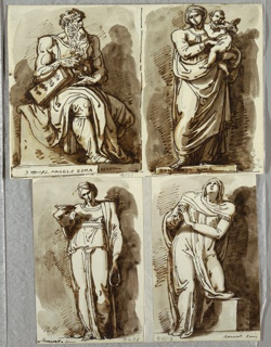 Sketchbook Folio, Studies after Four Statues on the Tomb of Julius II, after Michelangelo: Moses; Madonna and Child; Leah, Virtue; Rachel, Religion, 1821–22