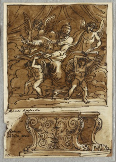 Upper drawing of seated Pope Gregorio VII, holding book, about to write, or probably copy from another book, at which he looks. Four angels aid him, one holds inkpot, two support book, and one turns page. Lower drawing of marble bench with lion's paw feet.