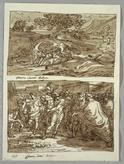 Upper drawing of she-wolf suckling Romulus and Remus, shown in cloth-lined basket, in landscape setting near river. Lower drawing of man at left leading horse; at center warrior in classical dress and helmet carrying suit of armor. At right, crowd led by old man wearing robes.