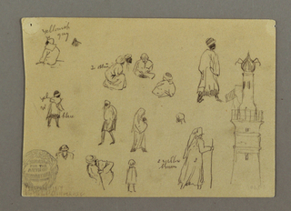 Recto:  Top row: half figure of a seated man, shown from the back; a group of four seated men; a walking man, shown turned toward left; a walking woman carrying a baby, shown turned toward right; a head. Bottom row: bust of a man show de face with lowered head; half figure of a man shown bending forward and leaning upon a stick; a child; a walking woman with a stick, shown from the right back.  And at right shown full height: a signal tower in a port.  Verso: Top row: a small square building with a dome and a part of a structure, both obliquely shown; a row boat; and at bottom left: sky with moon and clouds.