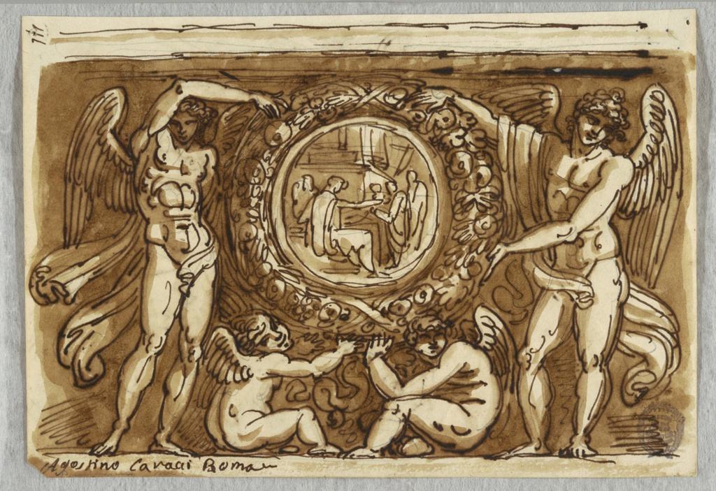 At center wreath with fruit surrounds circular figurative composition. Wreath held up by pair of standing angels flanking it and two seated putti below supporting it. Composition seems to be part of frieze.