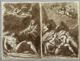 Left drawing of body of Christ reclining at lower left; Virgin, faces front with arms outstretched towards Christ. Angel atop clouds above. Right drawing of body of Christ resting in lap of Virgin; two Marys lean towards her from left and right. St. John behind her at left. Two male figures, one with turban at middleground. Two angels on clouds above.