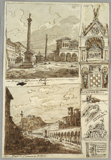 Piazza San Domenico in Bologna; Piazza San Francesco and Villa Aldini in Bologna; Study of Tomb of Glossatori; Verso: five studies of sepulcri and baptistries.