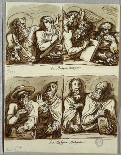 Upper drawing of Four Evangelist, in pairs; at left St.Luke and St.John; at right St. Matthew and St.Mark, all with attributes. Lower drawing of two pairs of Saints, or Doctors of Church, all with books; at left, Saint with flat hat--St. Anthony Abbot(?), and saint who is Pope; at right, two Bishop Saints.