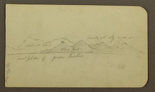 Drawing, Rugged Mountain Across a Plain; Verso: Figures, Landscape, December 12, 1884