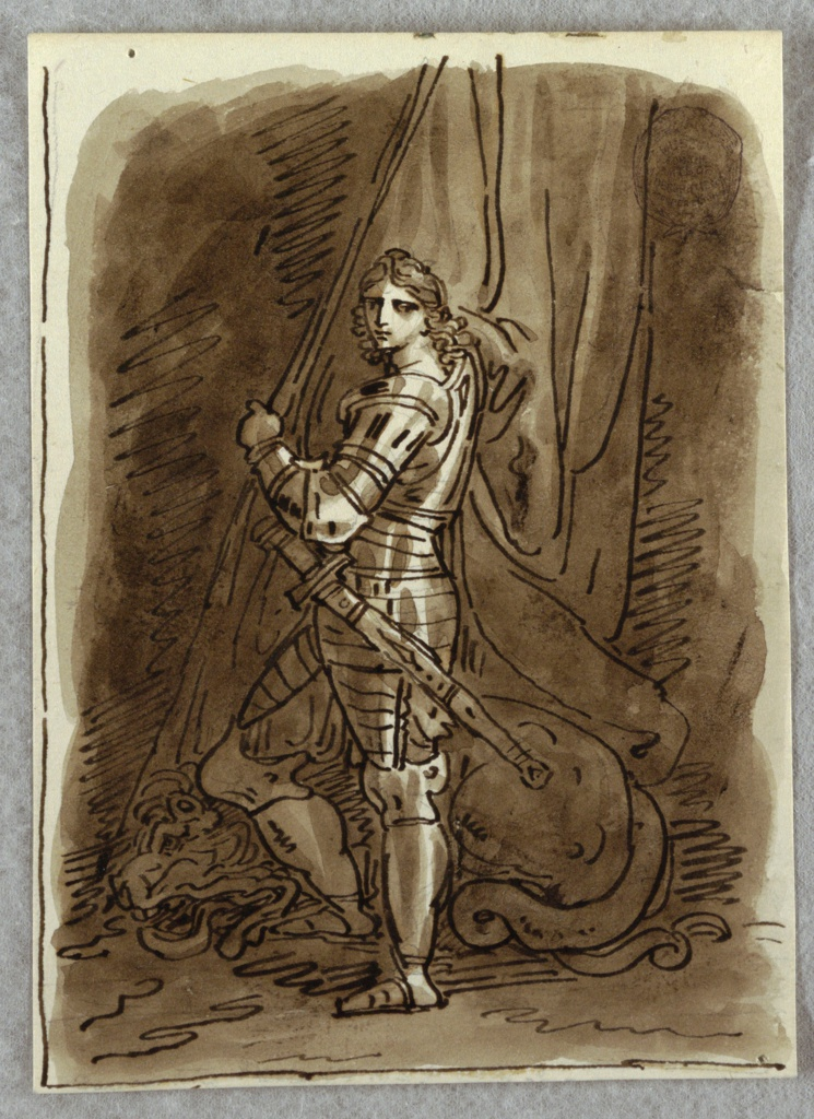 St. George standing with his body seen in profile, gazing out of picture towards spectator, over left shoulder; at his feet, dragon. Draperies billow at right.
