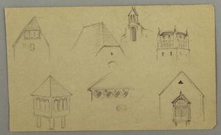 Drawing, Roof Studies, Austria (?), 1868