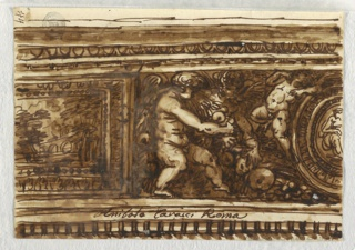 Part of painted frieze with part of enframed landscape at left, and panel with three putti, swag, and part of enframed circular figurative paintings. Moldings above and dentils above.