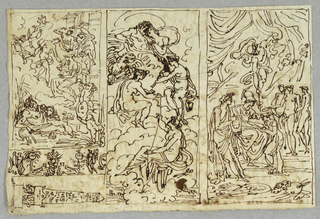 Drawing, Mythological or Biblical Scene; Juno and Jove Enthroned with Three Fates; Three Graces with Apollo and Minerva; Sculptural Relief and Obelisk